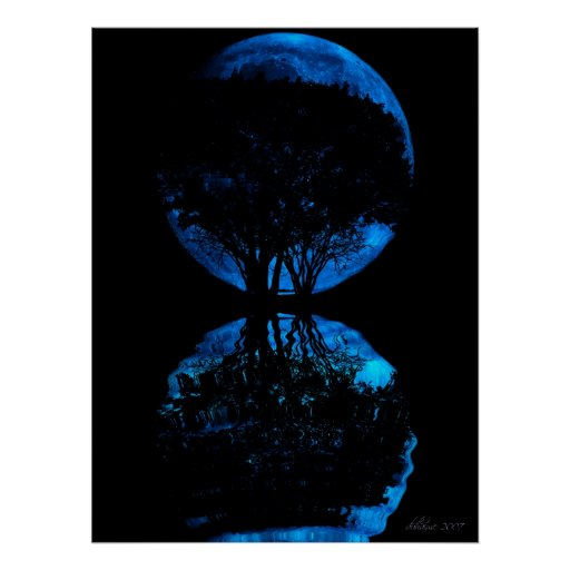 Blue Moon Reflected Poster