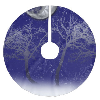 Blue Moon Snow Trees Brushed Polyester Tree Skirt
