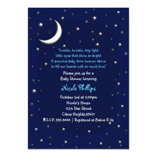 Blue Moon & Stars Celestial Baby Shower Invitation