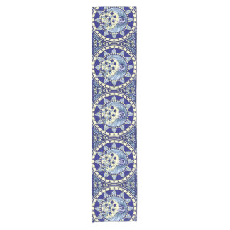 Blue Moon stars yellow wicca wiccan lunar Short Table Runner
