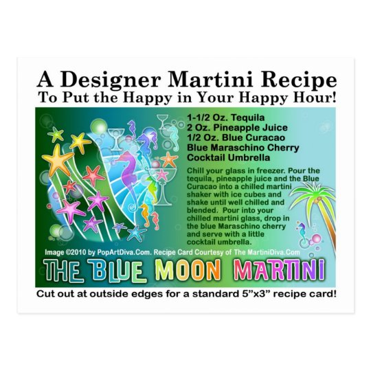 Blue Moon Tropical Martini Recipe Card Postcard