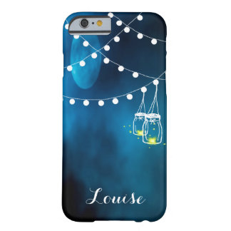 Blue moon with dark light string and mason jars barely there iPhone 6 case