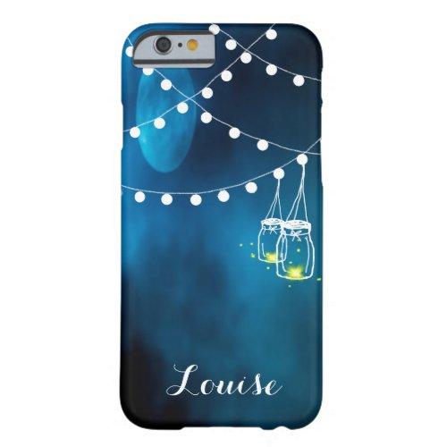 Blue moon with dark light string and mason jars Phone Case