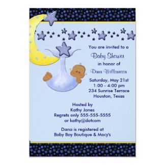 Blue Moon  Yellow Stars Ethnic Boy Shower Card