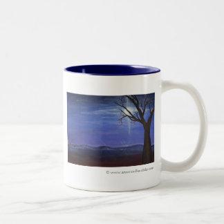 Blue Moonrise Painting Two-Tone Coffee Mug