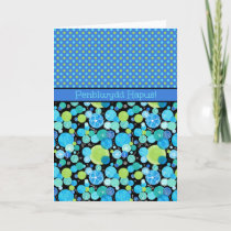 Blue Moons Pattern Birthday Card: Welsh Greeting Card
