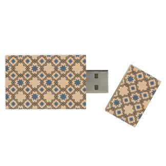 Blue Moorish Pattern - USB Thumb Drive Wood USB 2.0 Flash Drive