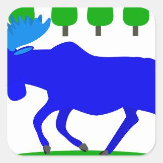 blue moose loose square sticker