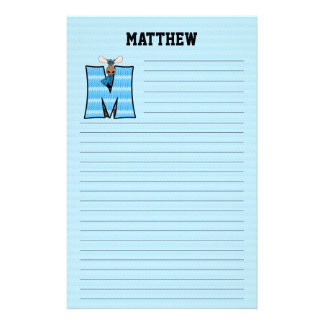 "Blue Moose Mongram ""M"" Lined Stationery"