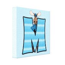 "Blue Moose Monogram ""M"" Canvas Print"