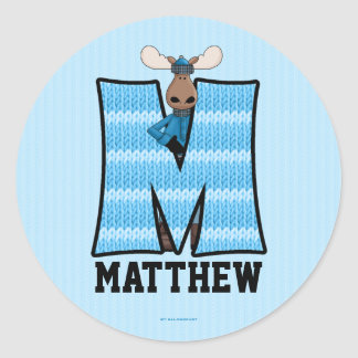"Blue Moose Monogram ""M"" Personalized Stickers"