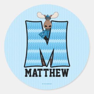 "Blue Moose Monogram ""M"" Personalized Stickers"