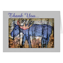 Blue Moose Thank You Note Greeting Card