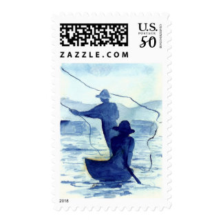 Blue Morning Fishermen Postage Stamps