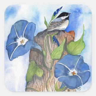 Blue Morning Glories and Chickadee Square Sticker