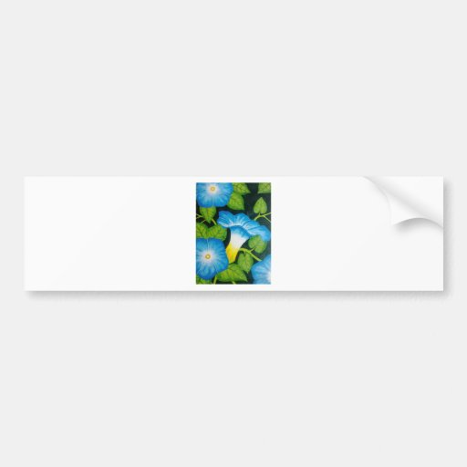 Blue Morning Glories Bumper Stickers