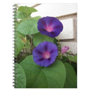 Blue Morning Glories Climbing Brick Wall Notebook