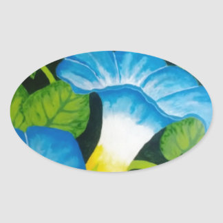 Blue Morning Glories Oval Sticker