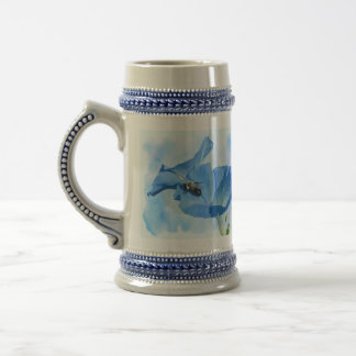 Blue Morning Glory and Bumblebee Beer Stein