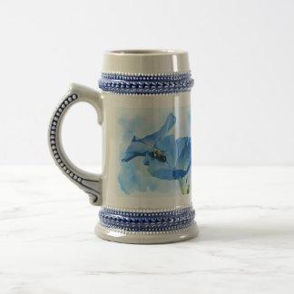 Blue Morning Glory and Bumblebee Coffee Mugs