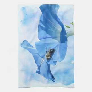 Blue Morning Glory and Bumblebee Towel