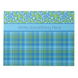 Blue Morning Glory and Plaid Notepad or Jotter