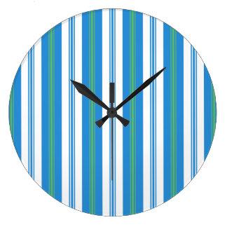 Blue Morning Glory Deckchair Stripe Wall Clock
