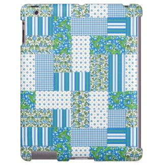 Blue Morning Glory Faux Patchwork iPad Case