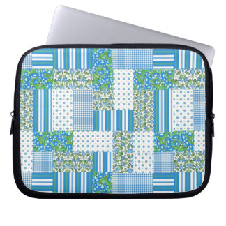 Blue Morning Glory Faux Patchwork Laptop Sleeve