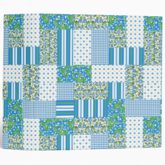 Blue Morning Glory Faux Patchwork Ring Binder