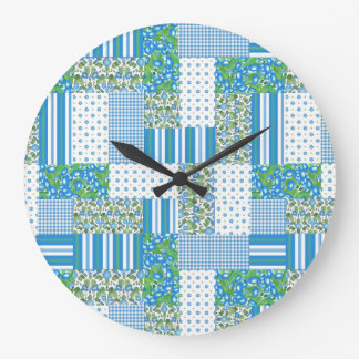 Blue Morning Glory Faux Patchwork Wall Clock