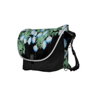 Blue Morning Glory Floral Flower Messenger Bag