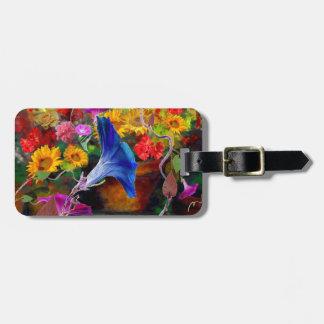 Blue Morning Glory Flower Garden Luggage Tag