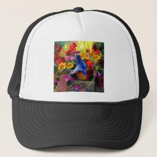 Blue Morning Glory Flower Garden Trucker Hat