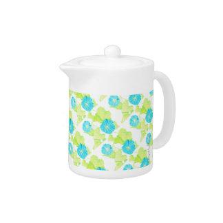 Blue Morning Glory Garden Teapot