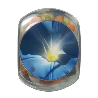 Blue Morning Glory Glass Candy Jars