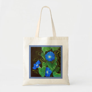 Blue morning glory, green leaves and vines tote bag