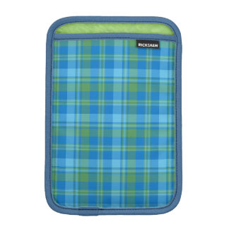 Blue Morning Glory Plaid iPad Mini Sleeve