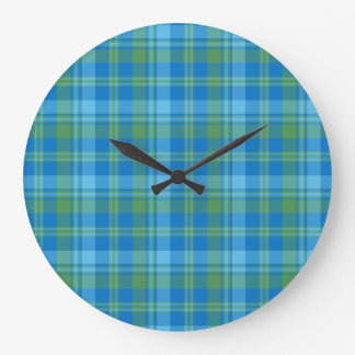 Blue Morning Glory Plaid Round Wall Clock