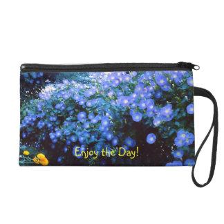 Blue Morning Glorys-Enjoy the Day! Wristlet Purse