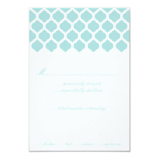 Blue Moroccan Pattern Wedding Party RSVP Cards