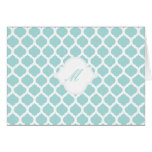 Blue Moroccan Pattern with Monogram Note Cards