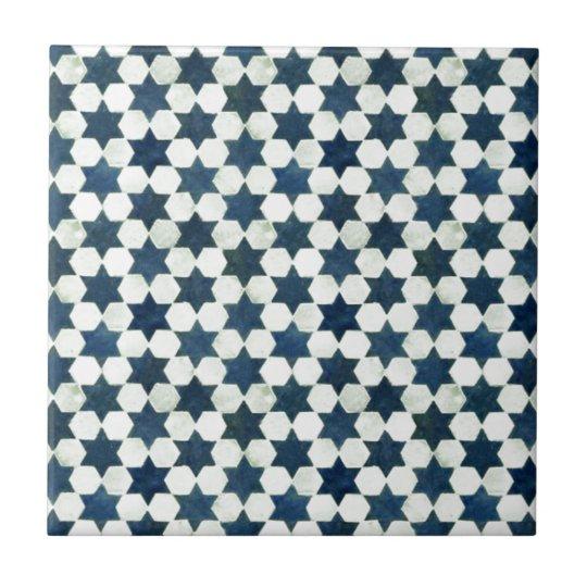 Blue Moroccan Star Pattern Ceramic Tile Zazzlecom - Ceramic tile star designs