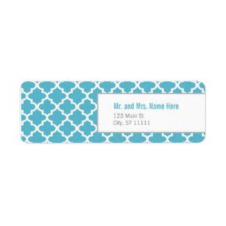 Blue Moroccan Tiles Return Address Label