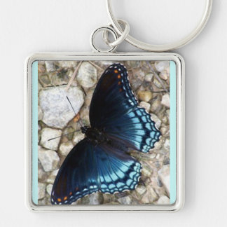 Blue Morphing Butterfly Silver-Colored Square Keychain