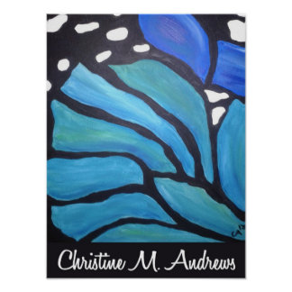 Blue morpho abstract butterfly painting poster
