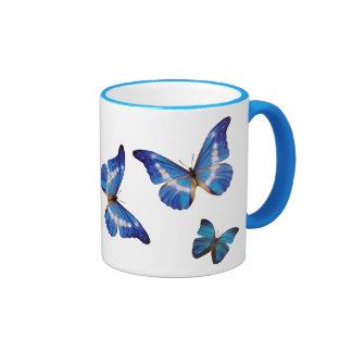 Blue Morpho Butterflies Coffee Mug Ringer Mug