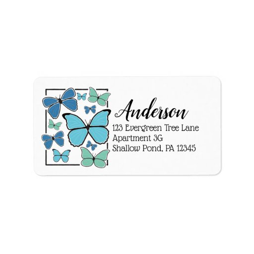 Blue Morpho Butterflies Collage Return Address Label