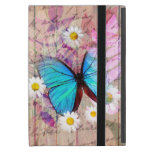 Blue Morpho butterfly daisies barn wood collage iPad Mini Cover