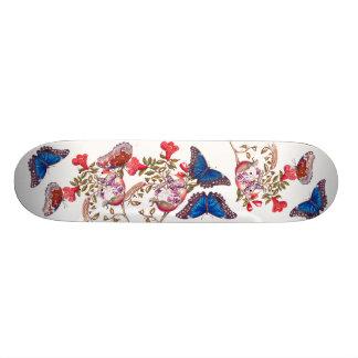 Blue Morpho Butterfly Floral Flowers Skateboard